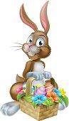 Easter Bunny Rabbit with Eggs Hamper Basket
