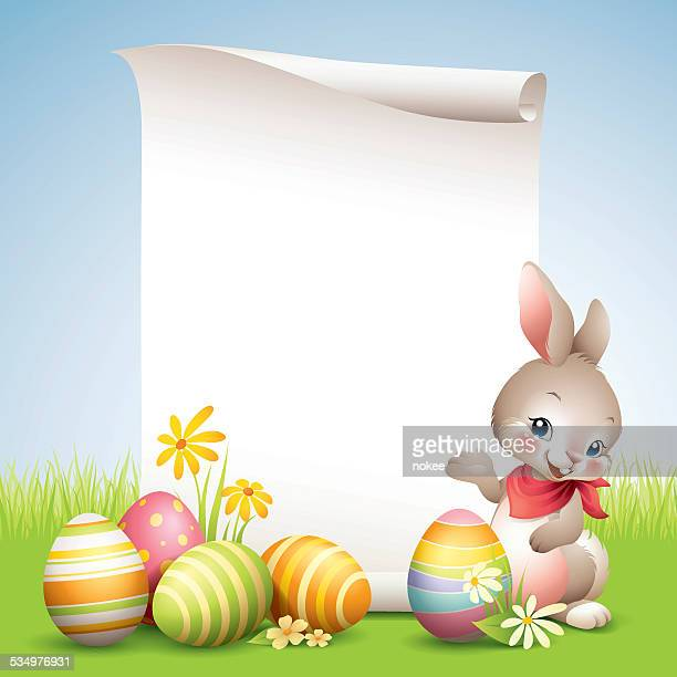 easter bunny - scroll - easter bunny stock illustrations