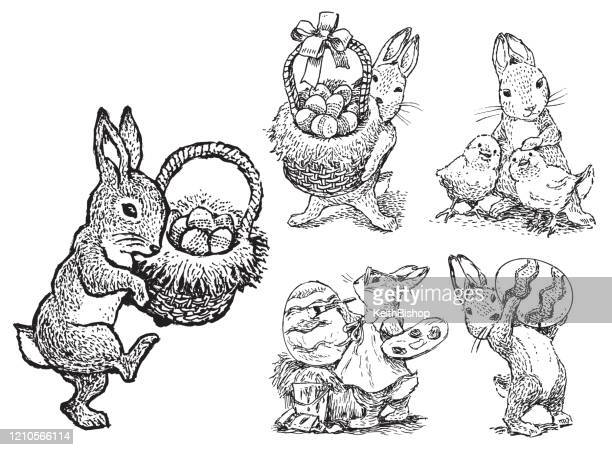 easter bunny set - religious holiday - easter bunny stock illustrations
