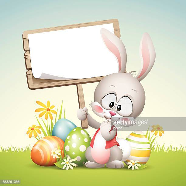 easter bunny - sign - easter bunny stock illustrations