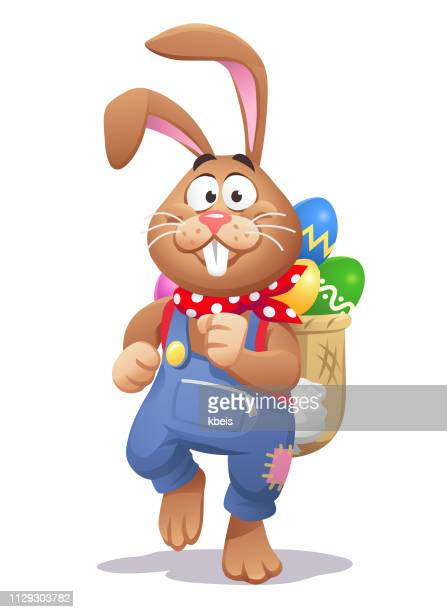 easter bunny with a backpack full of easter eggs - easter bunny stock illustrations