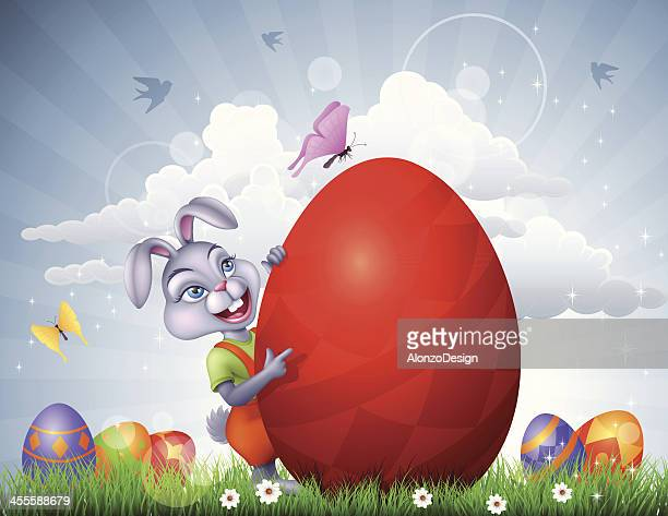 easter bunny with a giant egg - cartoon characters with big teeth stock illustrations