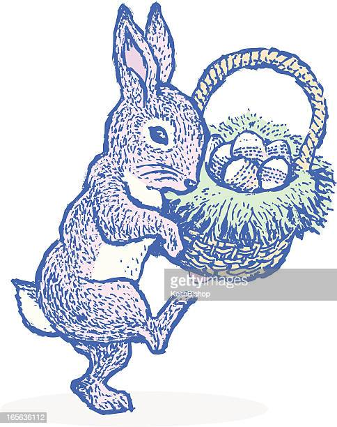 easter bunny with basket of eggs - easter bunny stock illustrations