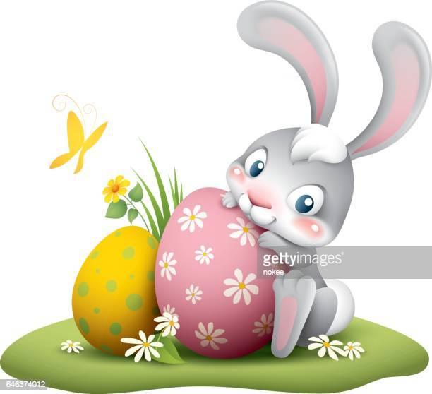 easter bunny with big egg - easter bunny stock illustrations
