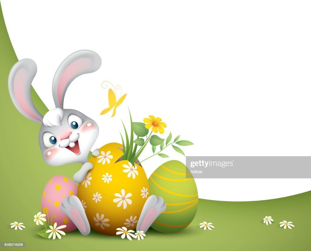 Easter Bunny With Big Eggs Background Stock Vector