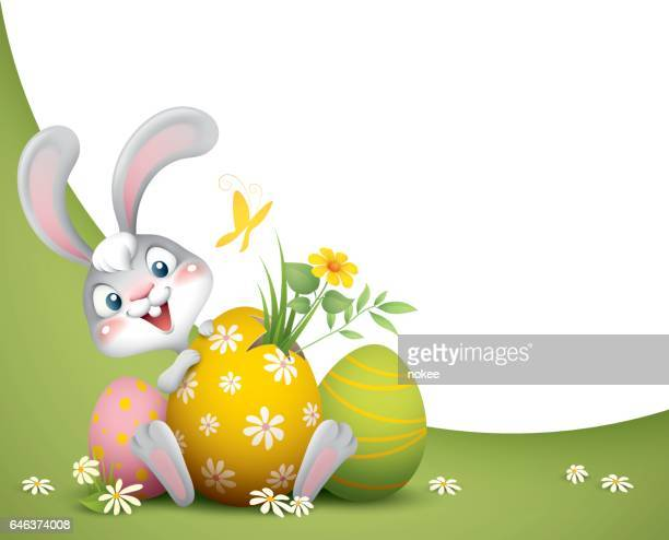 easter bunny with big eggs background - easter stock illustrations