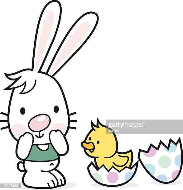 easter bunny with egg an chick - easter bunny costume stock illustrations, clip art, cartoons, & icons
