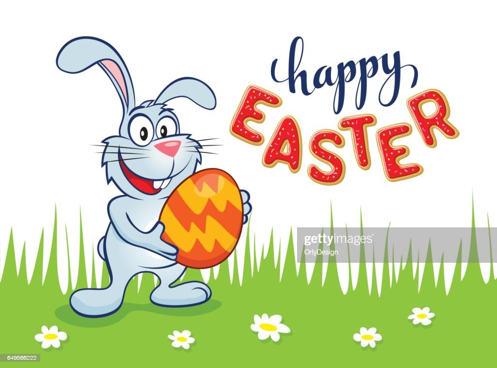 Easter bunny with egg lettering