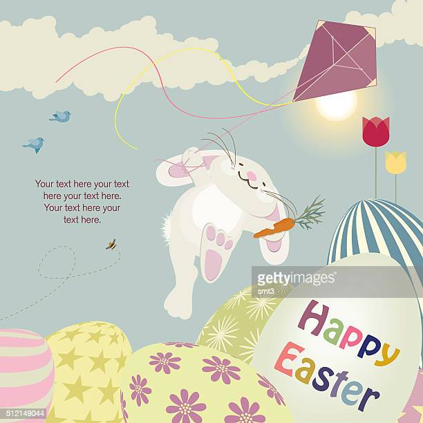 easter bunny with kite - kite toy stock illustrations, clip art, cartoons, & icons