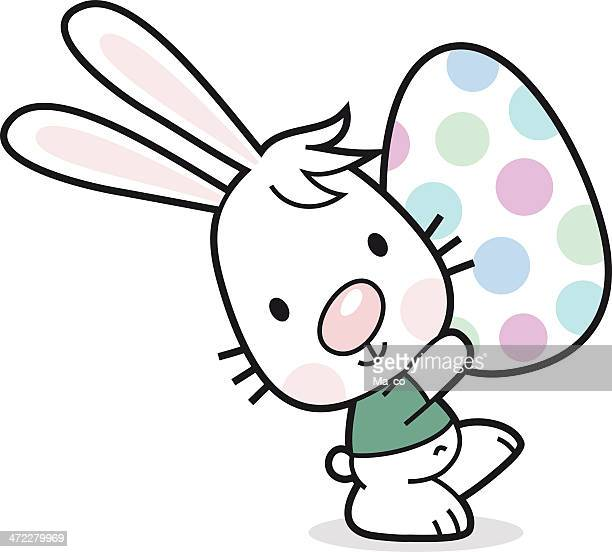 easter bunny with painted egg - easter bunny costume stock illustrations, clip art, cartoons, & icons