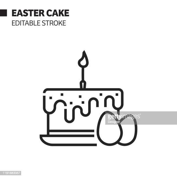 ilustraciones, imágenes clip art, dibujos animados e iconos de stock de icono de línea de pastel de pascua, ilustración de símbolo vectorial de contorno. píxel perfecto, trazo editable. - roscadepascua