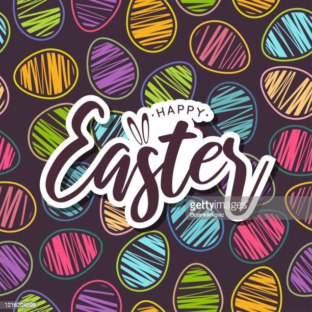 easter card with colorful seamless pattern eggs. vector - easter stock illustrations