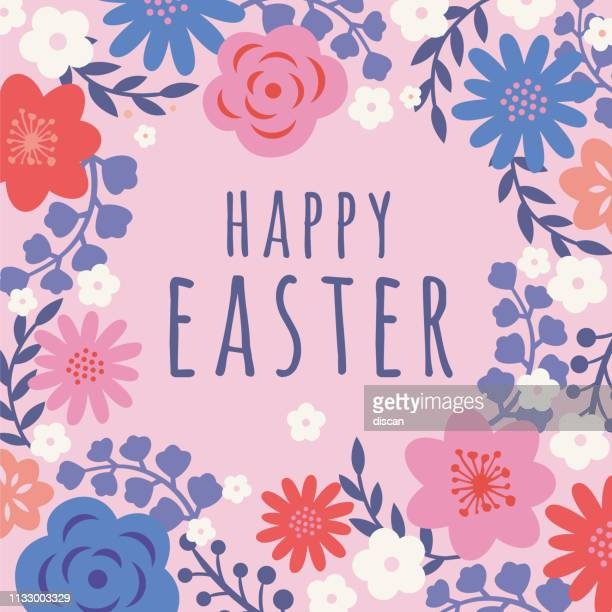 easter card with flowers frame. - easter stock illustrations
