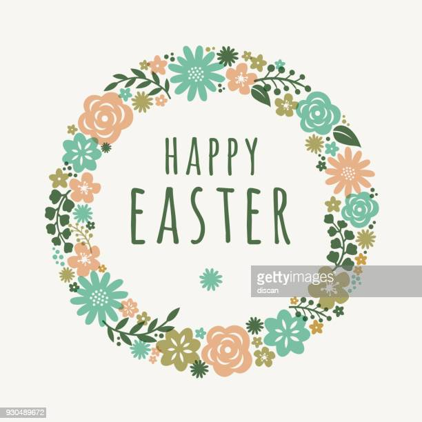 easter card with flowers wreath - easter stock illustrations