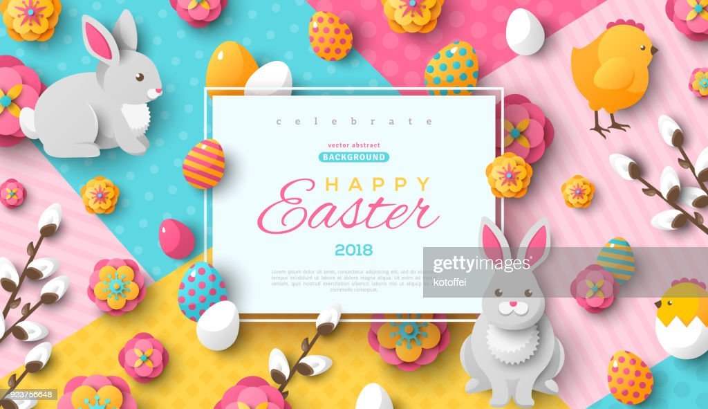 Easter card with square frame