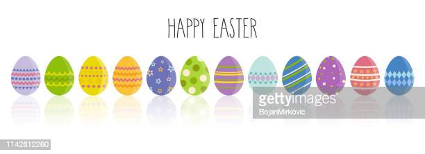 easter cartoon eggs with different patterns and handwrittten text. vector illustration. - easter sunday stock illustrations