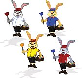 Easter cheerful rabbit  plumber