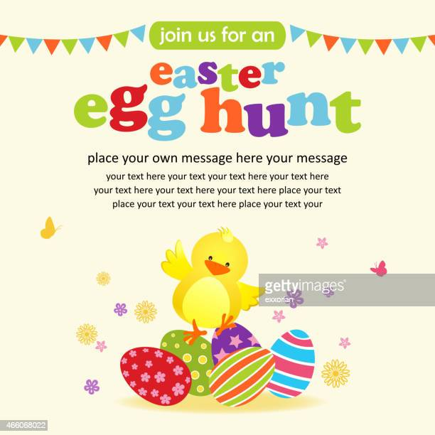 easter chick and eggs party notice - easter egg hunt stock illustrations, clip art, cartoons, & icons