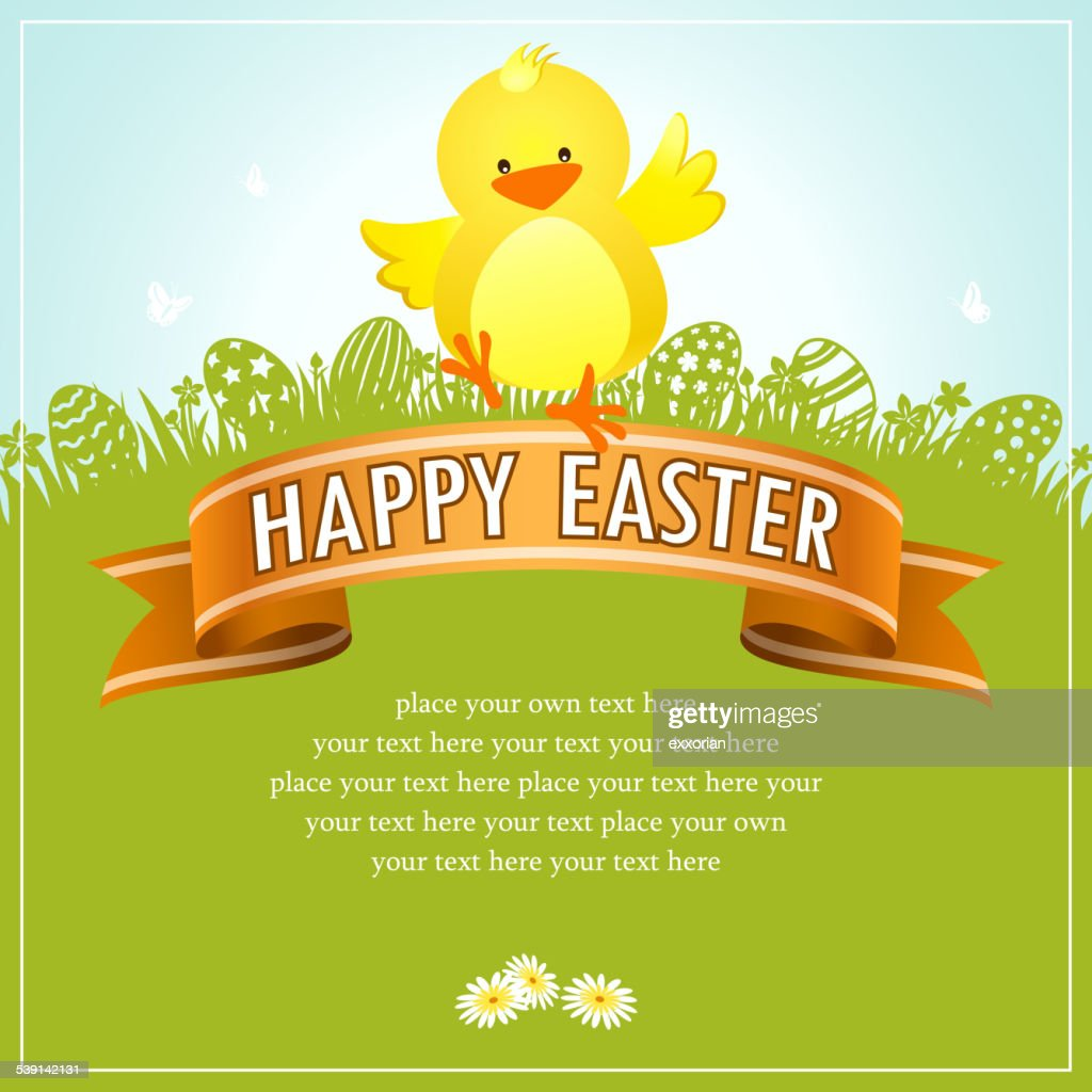 Easter Chick Banner in Nature Background : Vector Art