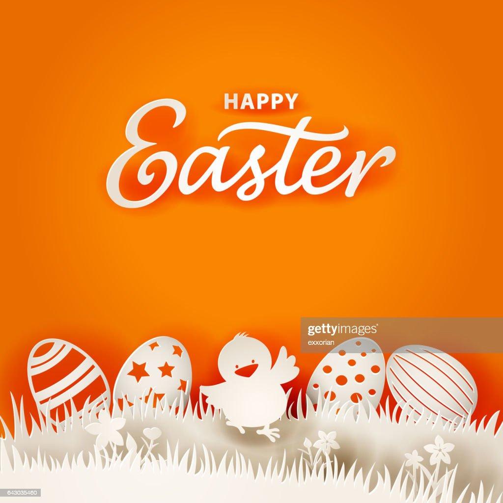Easter Chick & Eggs Paper Art