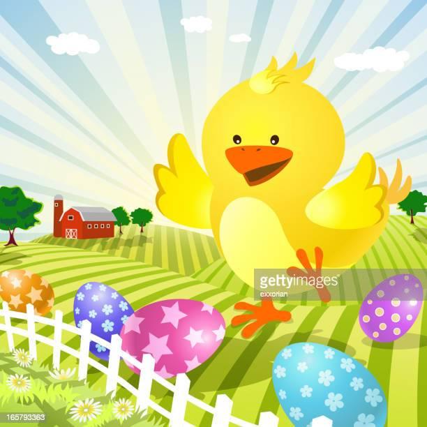 ilustraciones, imágenes clip art, dibujos animados e iconos de stock de pollito de pascua en la granja - animal egg