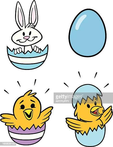 Ostern Küken und Häschen