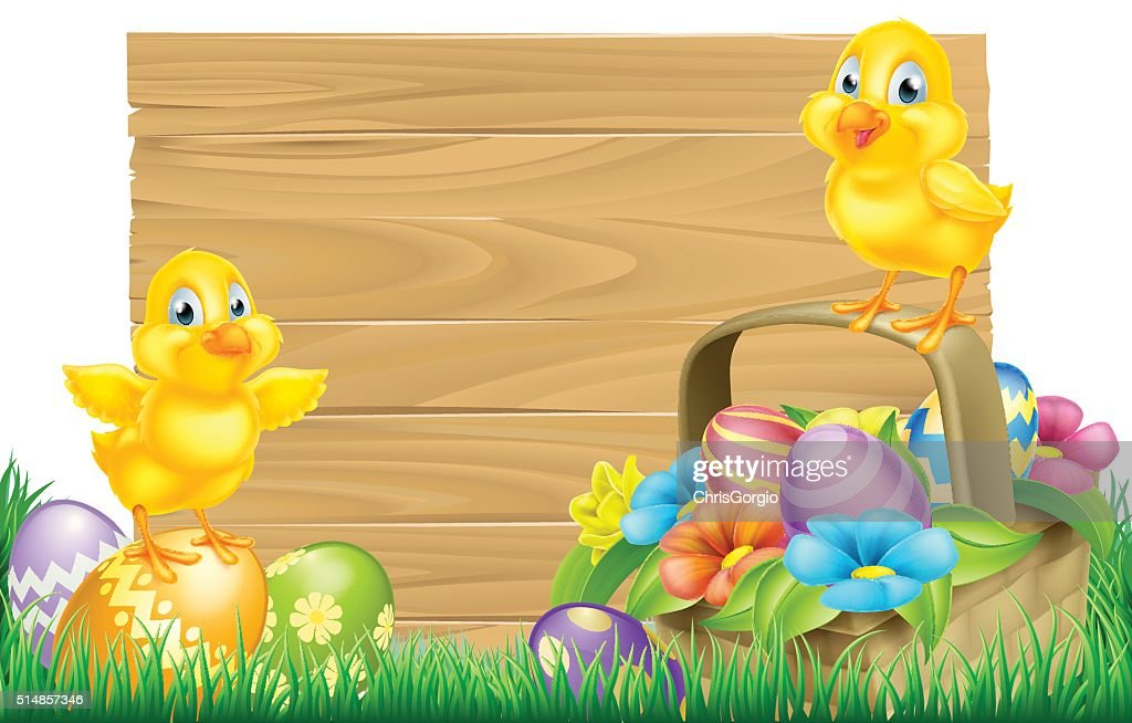 Easter Chicks and Eggs Basket Sign