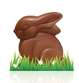 Easter chocolate bunny on white background.
