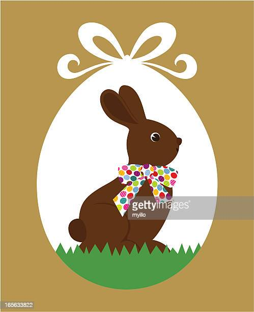 easter chocolate rabbit - chocolate bunny stock illustrations