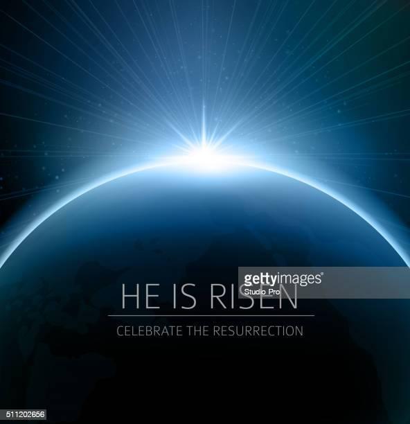 illustrazioni stock, clip art, cartoni animati e icone di tendenza di pasqua cristiana sfondo resurrezione - domenica di pasqua