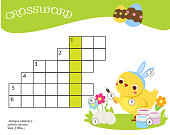 Easter crossword.  children educational game.  Learning vocabulary