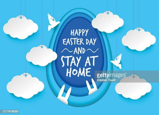 easter day and stay at home - easter sunday stock illustrations