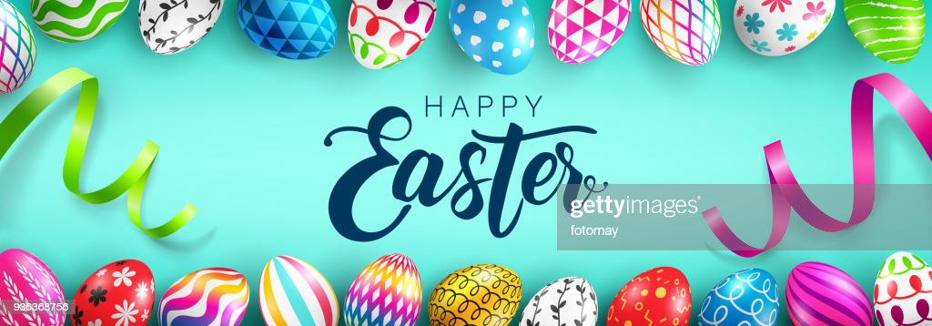 Easter Day web banner background template with Colorful Painted Easter Eggs.Easter eggs with different texture.Vector illustration EPS10