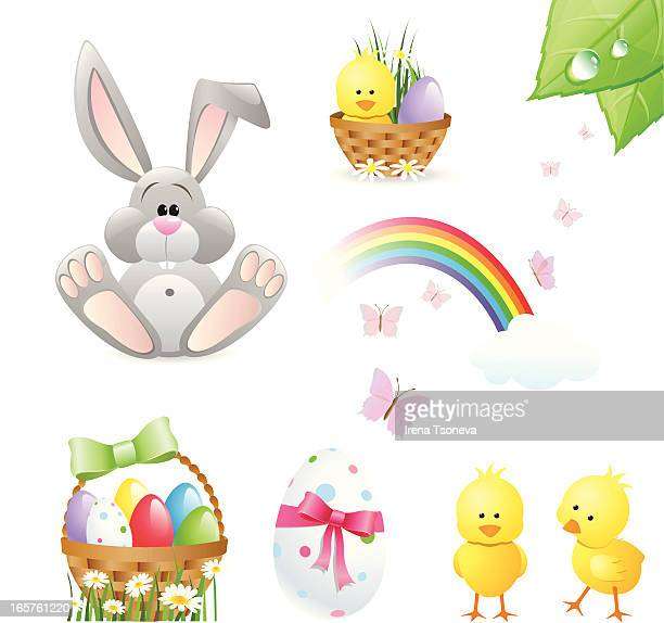 easter design elements - easter bunny stock illustrations