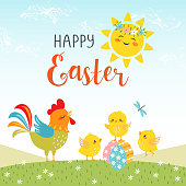 Easter design of cute happy chicks.