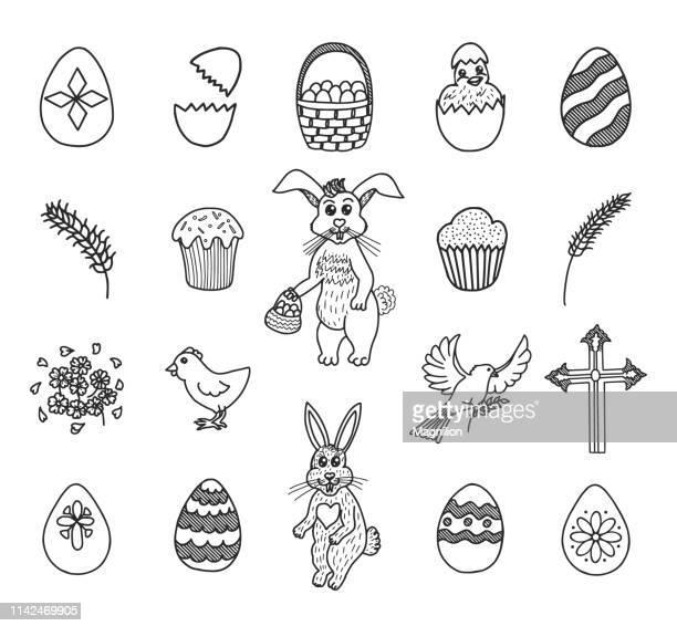 ilustraciones, imágenes clip art, dibujos animados e iconos de stock de conjunto de garabatos de pascua - roscadepascua