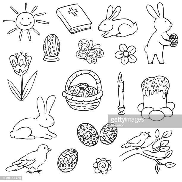 ilustraciones, imágenes clip art, dibujos animados e iconos de stock de conjunto de doodles de pascua - roscadepascua