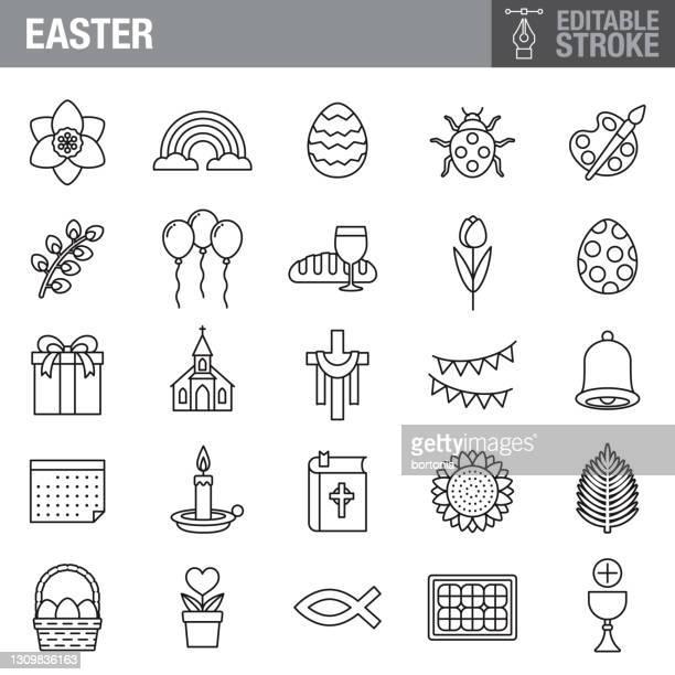 illustrazioni stock, clip art, cartoni animati e icone di tendenza di set di icone tratto modificabile pasquale - colomba pasqua