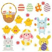 Easter Egg Basket / Bunnies / Chicks In White Background