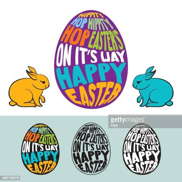 Easter Egg - Bunnies  / Vector Illustration