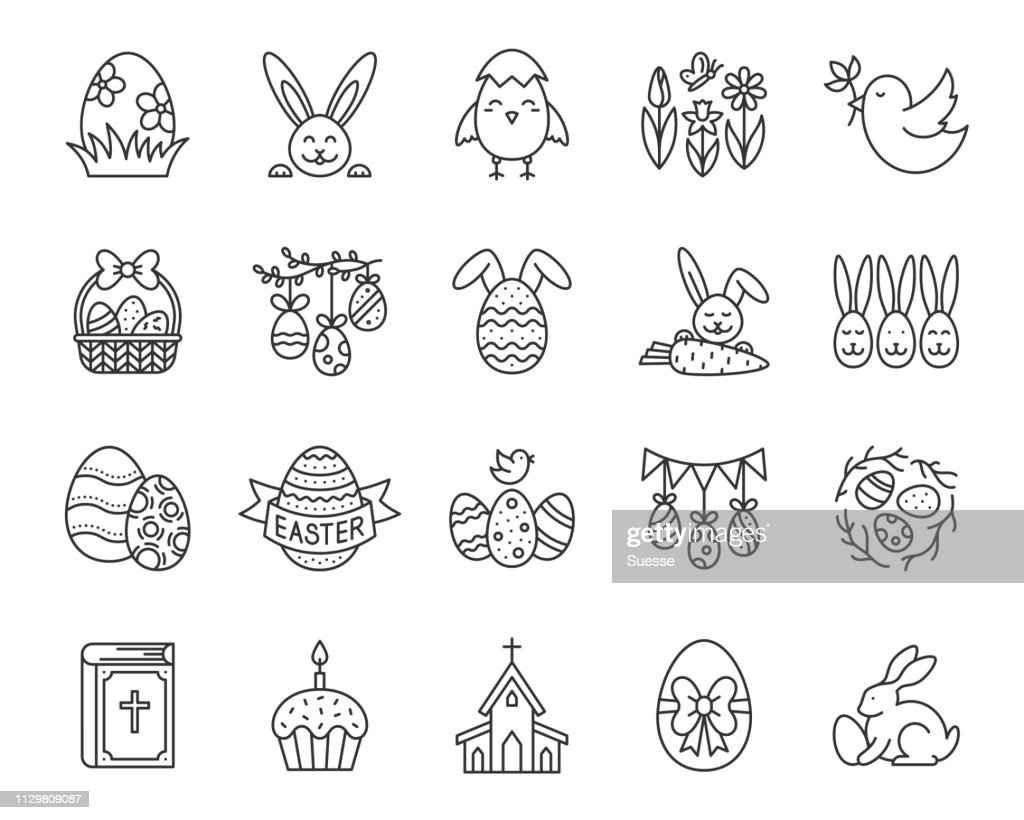 Easter egg bunny simple black line icon vector set