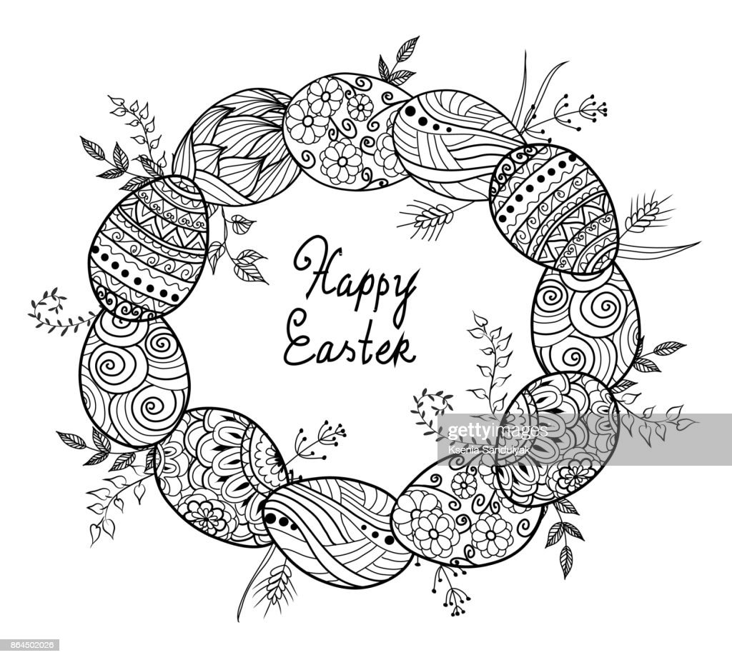 Easter Egg Collection In Doodle Style Hand Drawn ...