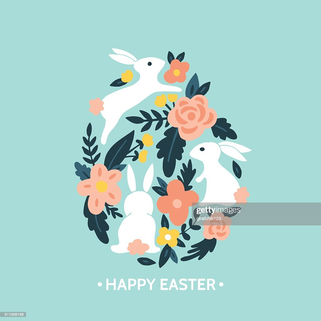 Easter egg design with easter bunny and flowers
