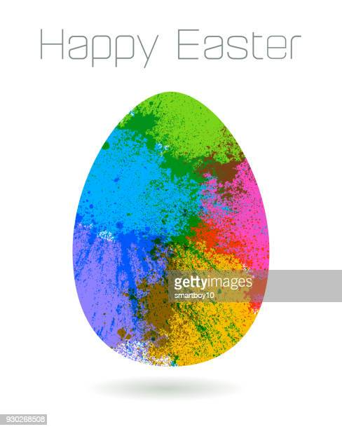 easter egg greeting - powder paint stock illustrations