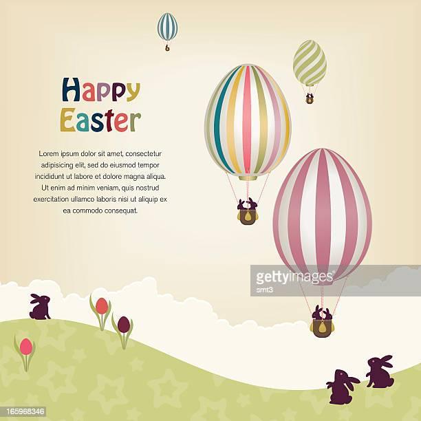 easter egg hot air balloons. - easter egg stock illustrations, clip art, cartoons, & icons