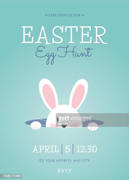 easter egg hunt invitation template with easter bunny. - easter bunny stock illustrations