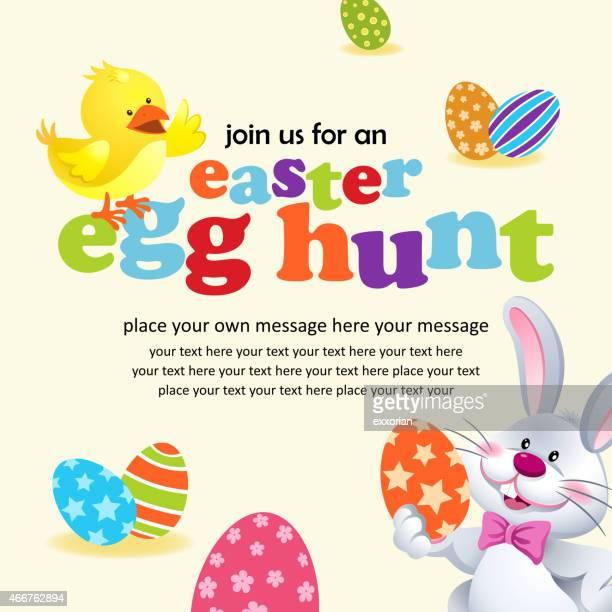 easter egg hunt invitation - easter egg hunt stock illustrations, clip art, cartoons, & icons