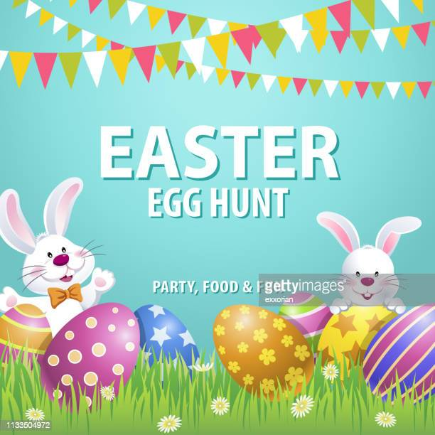 easter egg hunt party - easter bunny stock illustrations