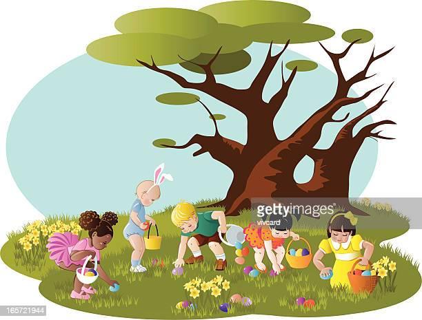 easter egg hunt - easter egg hunt stock illustrations, clip art, cartoons, & icons