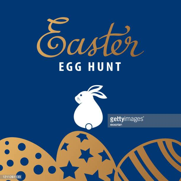 easter egg hunt with bunny - easter bunny stock illustrations